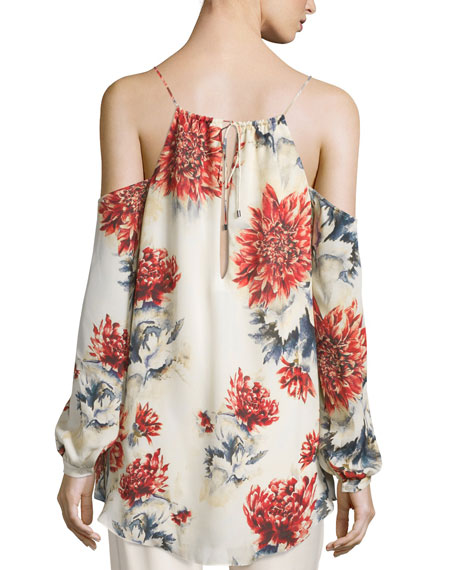 Long-Sleeve Floral Cold-Shoulder Blouse, Lincoln Print