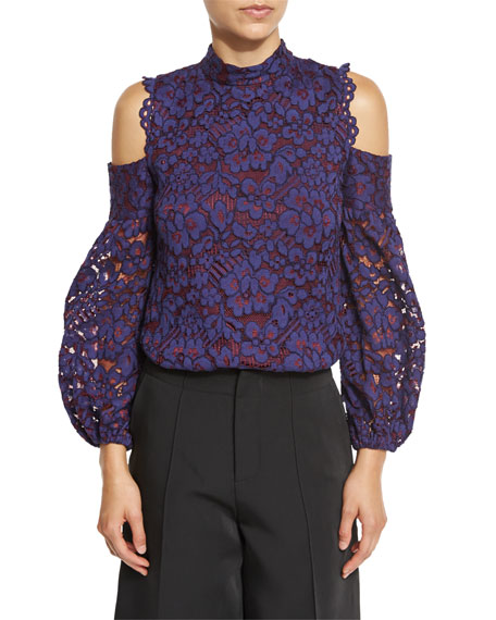 Alexis Siri Cold-Shoulder Lace Blouse, Navy