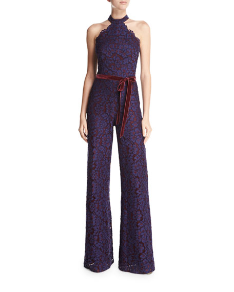 Alexis Rene Halter-Neck Wide-Leg Lace Jumpsuit, Navy
