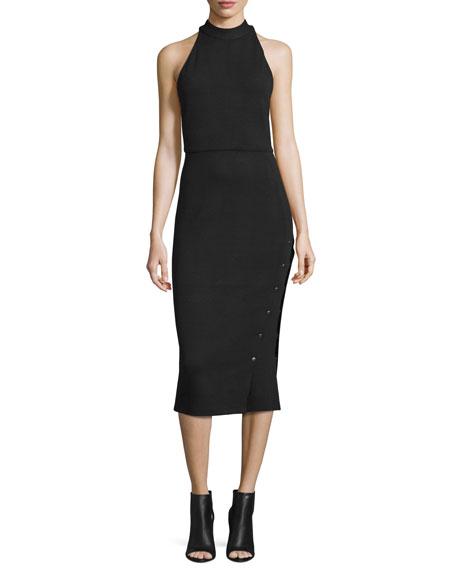 Haute Hippie Sleeveless Buttoned Turtleneck Midi Dress, Black