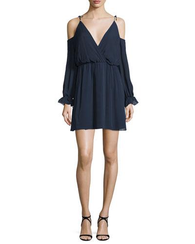 Silk Cold-Shoulder Blouson Mini Dress, Midnight