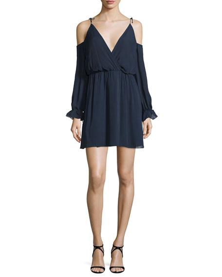 Haute Hippie Silk Cold-Shoulder Blouson Mini Dress, Midnight