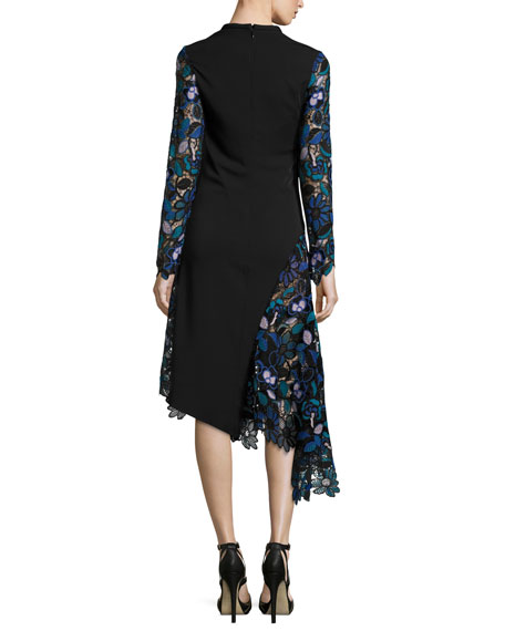 Self-Portrait Elora Floral-Lace Asymmetric Midi Dress