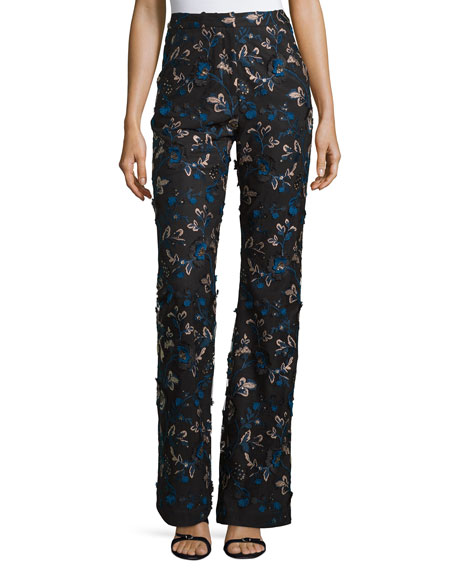 Self-Portrait Embellished Floral-Lace Trousers