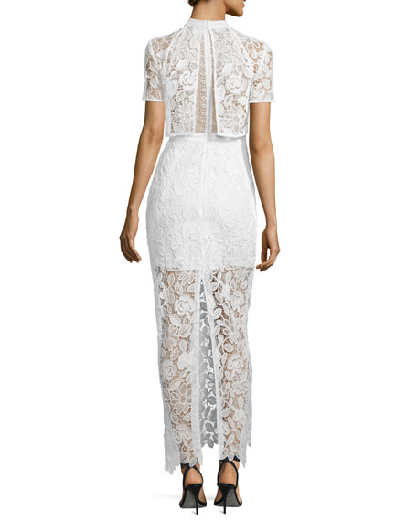 Image 2 of 2: Marcela Guipure Lace Short-Sleeve Bridal Gown, White