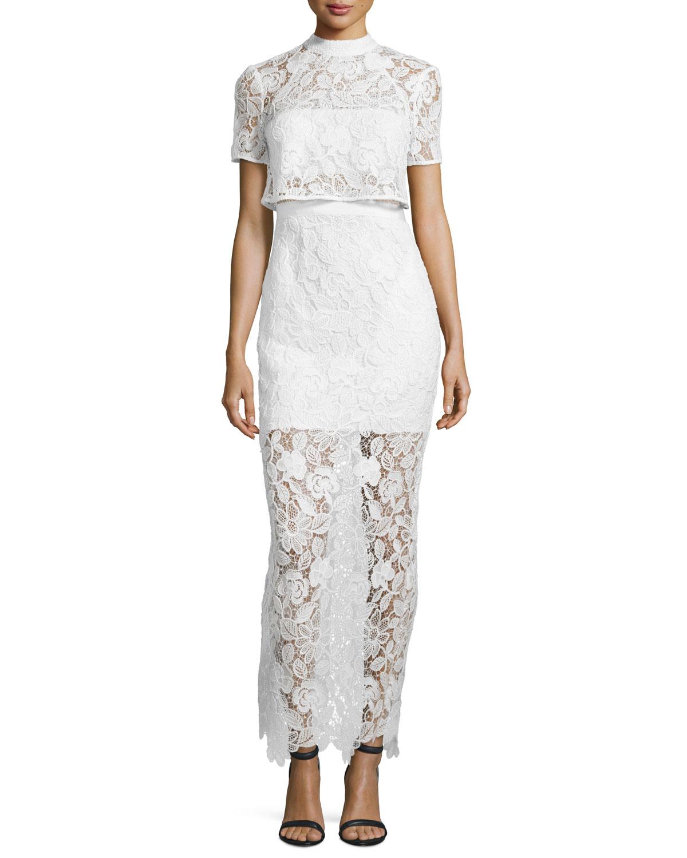 Self-Portrait Marcela Guipure Lace Short-Sleeve Bridal Gown, White ...