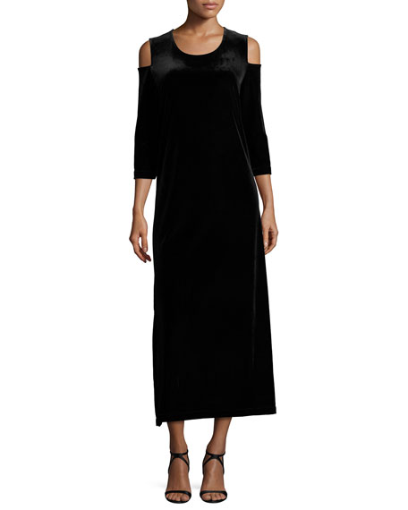 3/4-Sleeve Cold-Shoulder Velvet Maxi Dress, Black