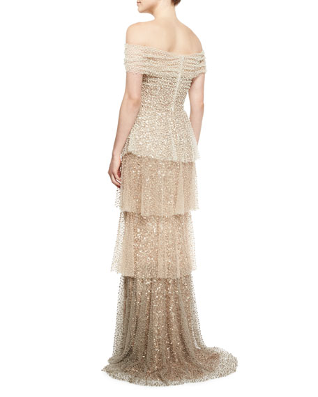 Pearly Ombre Tiered Gown, Gold