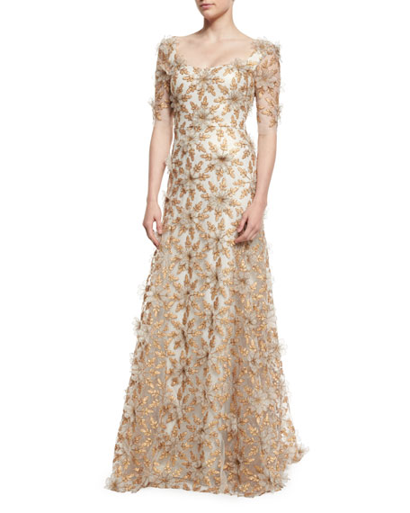 Floral-Appliqué Half-Sleeve Gown, Copper