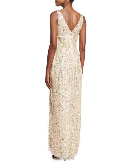 Sleeveless Sequin & Fringe Column Gown, Gold