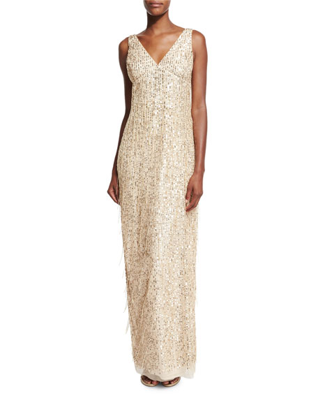 Aidan Mattox Sleeveless Sequin & Fringe Column Gown,