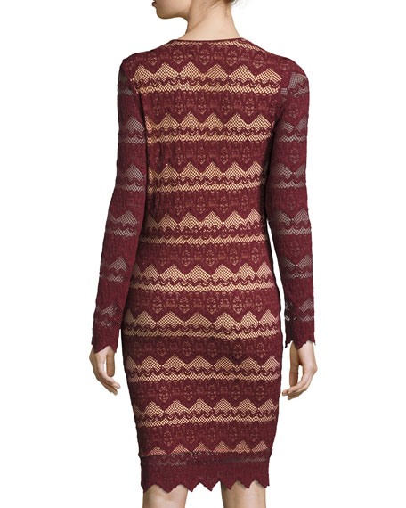 Sierra Lace V-Neck Long-Sleeve Dress, Garnet