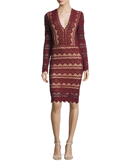 Nightcap Clothing Sierra Lace V-Neck Long-Sleeve Dress, Garnet
