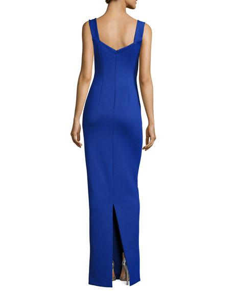 Sleeveless Ponte Sweetheart Gown, Sapphire