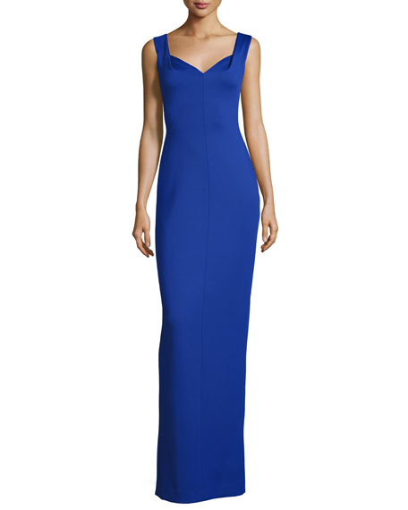 Black Halo Sleeveless Ponte Sweetheart Gown, Sapphire
