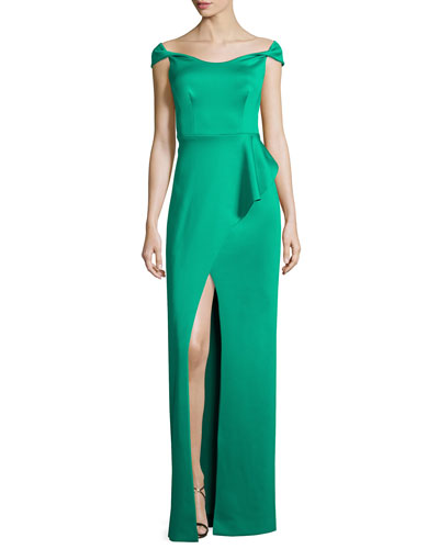Off-the-Shoulder Draped Satin Gown, Emerald