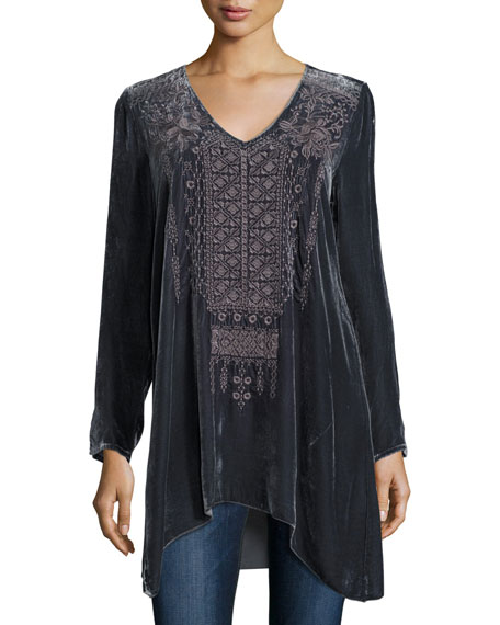 Sassi Long-Sleeve Velvet Tunic, Plus Size