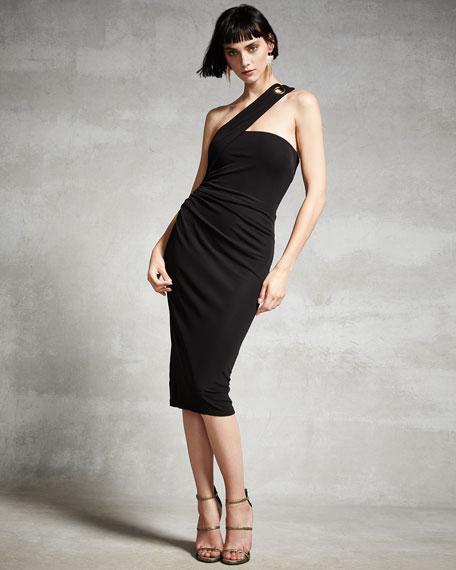 One-Shoulder Grommet Sheath Dress, Black