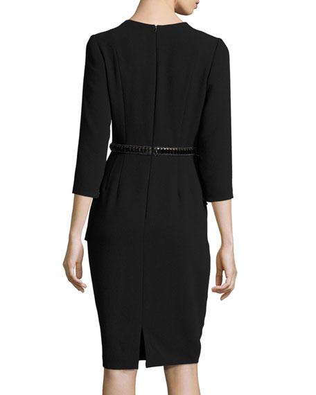 3/4-Sleeve Crepe Peplum Cocktail Dress, Black