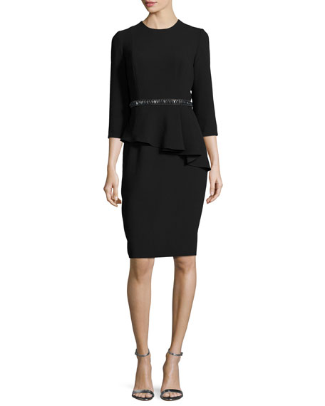 Carmen Marc Valvo 3/4-Sleeve Crepe Peplum Cocktail Dress,