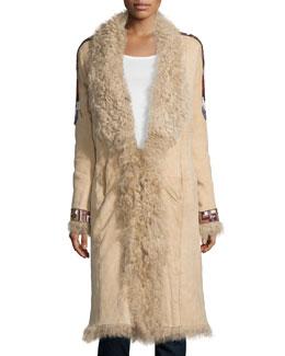 Embellished Fur Coat, Buff