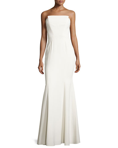 Strapless Structured Crepe Gown, Off White