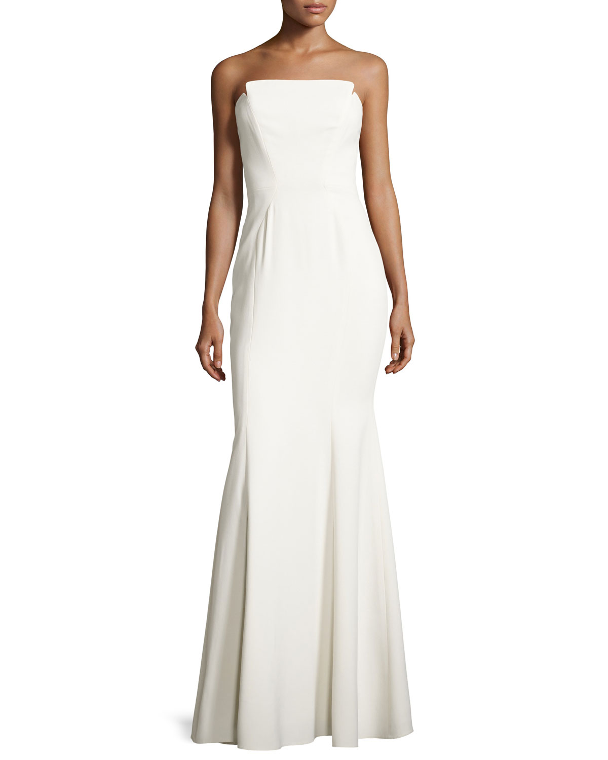 Jill Jill Stuart Strapless Structured Crepe Gown, Off White | Neiman ...