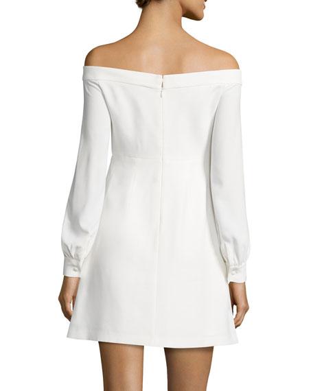 Long-Sleeve Off-the-Shoulder Crepe Dress, Ivory