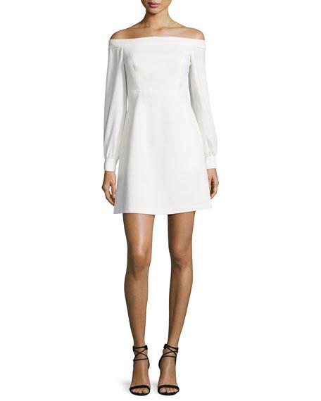 Jill Jill Stuart Long-Sleeve Off-the-Shoulder Crepe Dress, Ivory