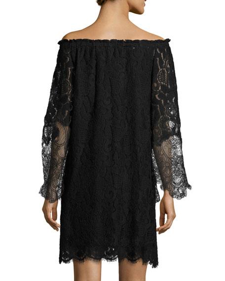 Off-the-Shoulder Floral Lace Shift Dress, Black