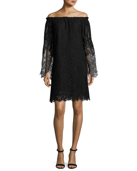 Kobi Halperin Off-the-Shoulder Floral Lace Shift Dress, Black