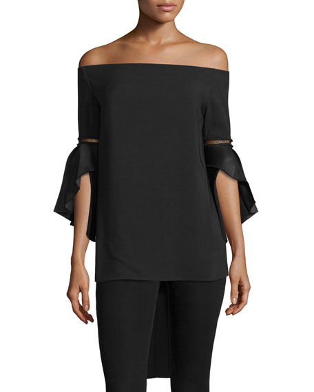 Rachel Gilbert Off-the-Shoulder Bell-Sleeve Top, Black