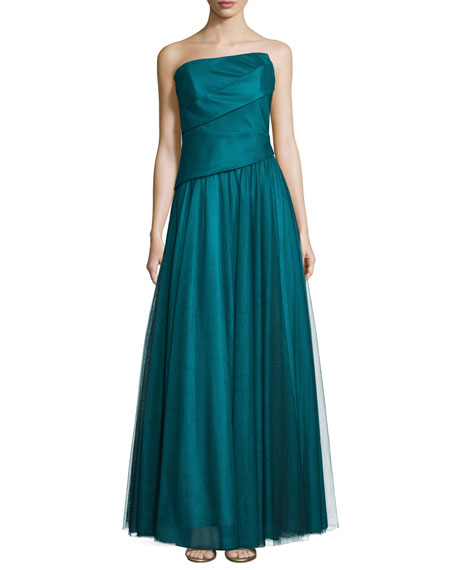 ML Monique Lhuillier Strapless Pleated-Bodice Evening Gown,