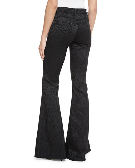 Drew Five-Pocket Leopard-Print Pants, Black