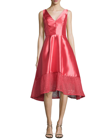 ML Monique Lhuillier Deep V High-Low Cocktail Dress,