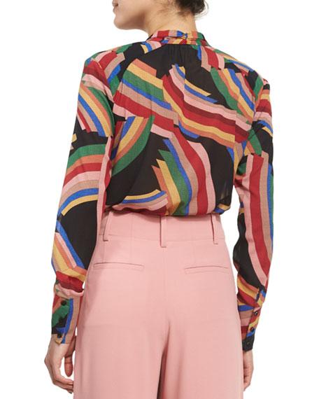 Aisha Printed Tie-Neck Blouse