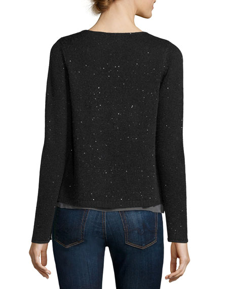 Sequined Cashmere Drape Cardigan