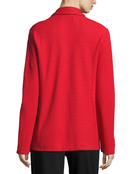 Joan Vass Petite Two-Button Long Pique Blazer, Classic Red