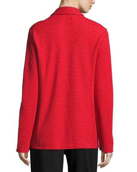 Joan Vass Two-Button Long Pique Blazer, Classic Red