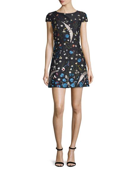 Alice + Olivia Ellen Embroidered Short-Sleeve Dress