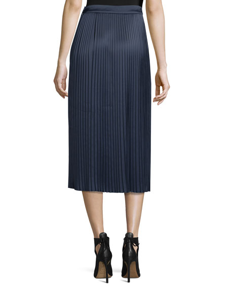 Lucy Pleated Tea-Length Skirt, Royal