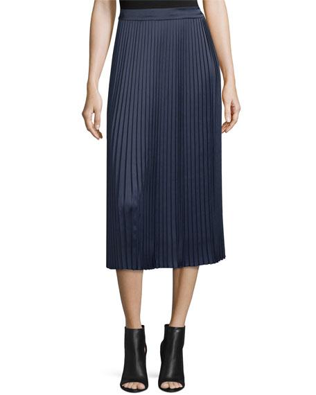 Lucy Pleated Tea-Length Skirt, Royal