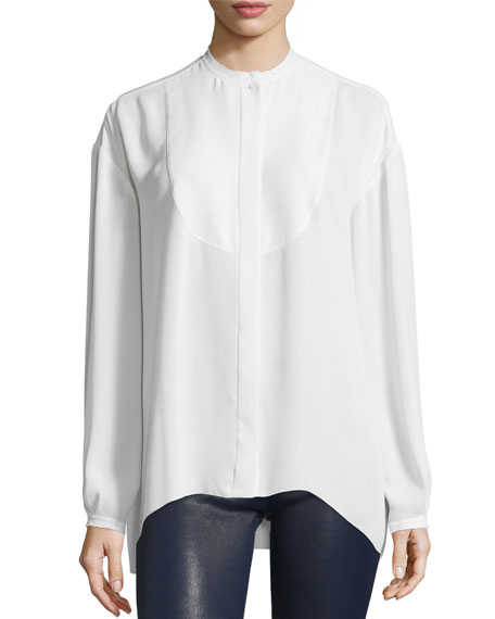Elizabeth and James Long-Sleeve Bibbed Chiffon Blouse, Ivory