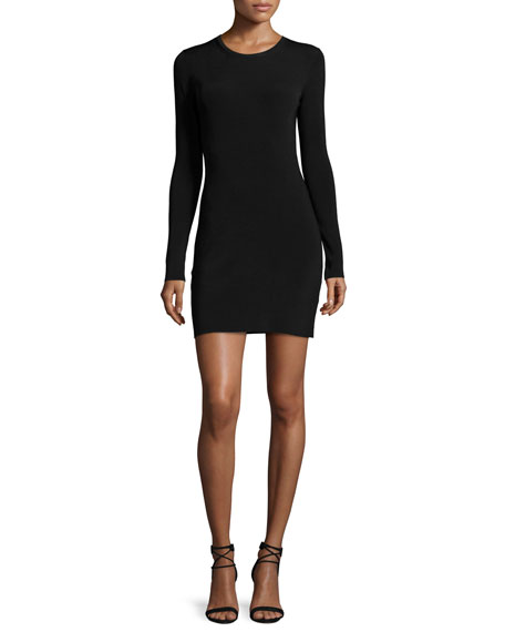 Priscilla Long-Sleeve Cutout Ribbed Mini Dress, Black