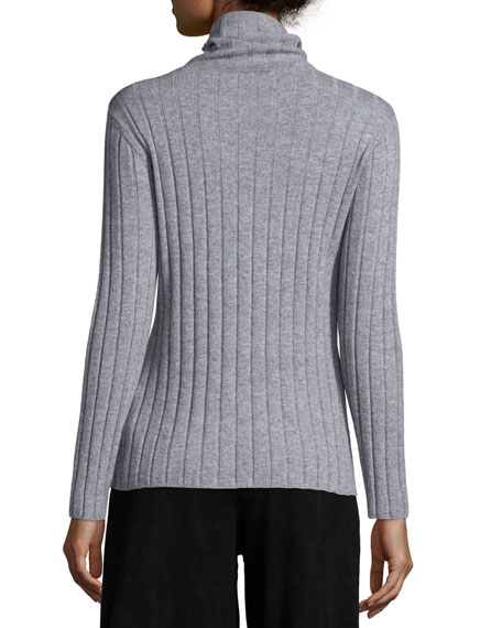 Ribbed Wool/Cashmere Turtleneck Sweater