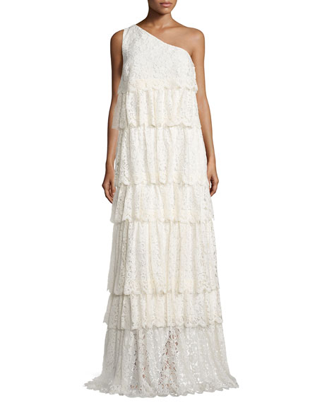 One-Shoulder Tiered Lace Gown, Ecru