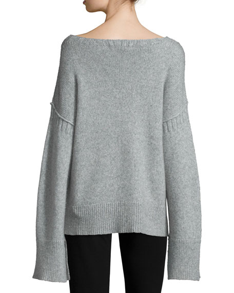 Harris Oversized Wool-Blend Sweater, Heather Gray Top Reviews