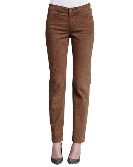 NYDJ Sheri Nutmeg Cheetah-Print Skinny Pants