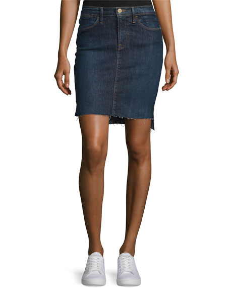 Le Staggered Denim Mini Skirt, Catamaran