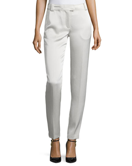 Elizabeth and James Wallace Satin Slim-Fit Trousers, Champagne